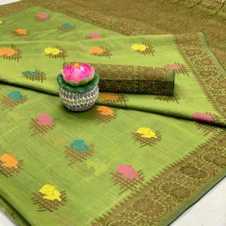 Gorgeous Mehendi Green Cotton All Over Weaving Designer Saree