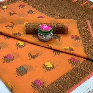 Amazeballs Orange Cotton With All Over Weaving Designer Saree
