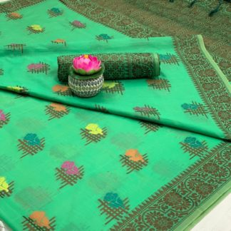 Smashing Rama Green Cotton All Over Weaving Designer Saree