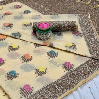 Knockout Cream Cotton All Over Weaving Designer Saree