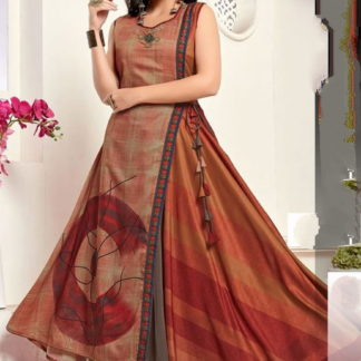 Pulchritudinous Brown Printed Rayon Full Stitched Gown