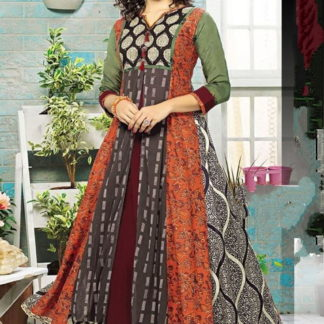 Remarkable Multi Colored Printed Rayon Ready Made Gown
