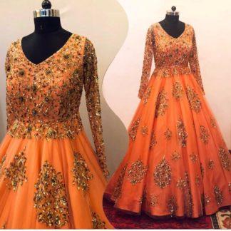 Tremendous Orange Designer Net With Sequence Work Gown