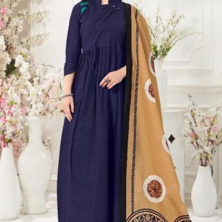 Good-Looking Navy Blue Slub Cotton Party Wear Gown
