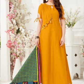 Comely Mustard Slub Cotton Party Wear Gown