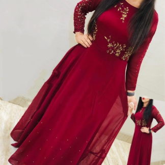 Tremendous Red Georgette With Embroidered Moti Work Gown