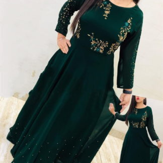 Wondrous Rama Green Georgette With Embroidered Work Gown