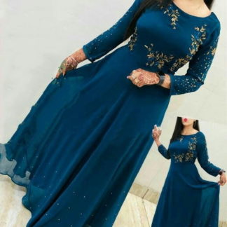 Attractive Rama Blue Georgette Embroidered Work Gown