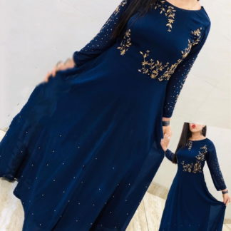 Lovely Navy Blue Georgette With Embroidered Work Gown