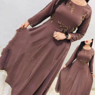 Comely Brown Georgette With Embroidered Work Gown