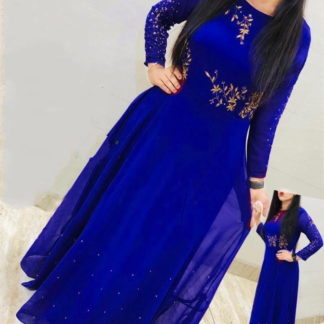 Pretty Royal Blue Georgette Embroidered Work Gown