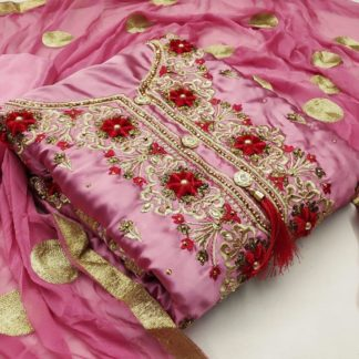 Sensational Pink Satin Diamond Embroidered Work Salwar Suit