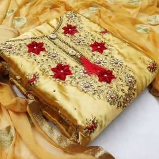 Radiant Mustard Embroidered Diamond Work With Satin Salwar Suit
