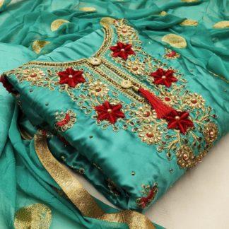 Ravishing Rama Satin Embroidered Diamond Work Salwar Suit