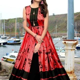Devastating Black & Red Japan Satin Digital Printed Gown