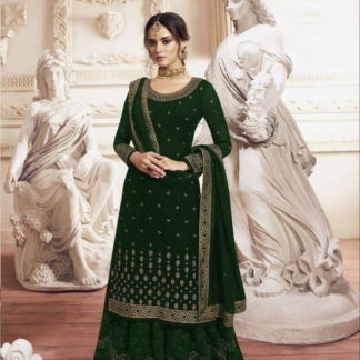 Wondrous Dark Green Georgette With Embroidered Work Plazo Salwar Suit