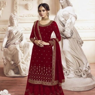 Attractive Red Georgette With Embroidered Work Plazo Salwar Suit