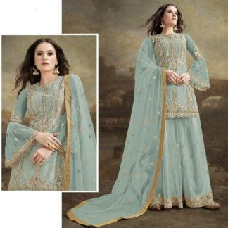 Pretty Light Blue Net With Embroidered Diamond Plazo Salwar Suit