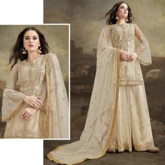Sensational Cream Net With Embroidered Diamond Work Plazo Salwar Suit