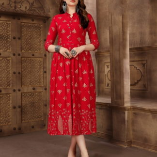 Captivating Red Rayon Foil Printed Gown