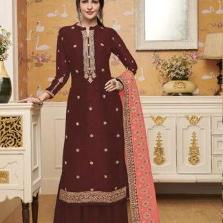 Devastating Brown Silk With Embroidered Work Plazo Salwar Suit