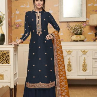 Wonderful Navy Blue Silk With Embroidered Work Plazo Salwar Suit