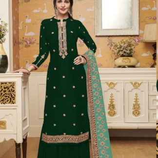 Glorious Green Silk With Embroidered Work Salwar Suit