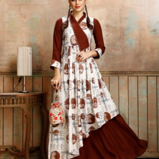 Amazeballs Brown Rayon Printed Full Stitched Gown