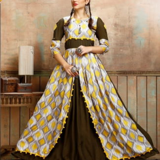 Smashing Mehendi Rayon Printed Full Stitched Gown