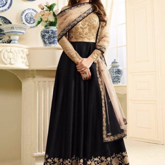 Comely Black Silk Net With Embroidered Work Salwar Suit