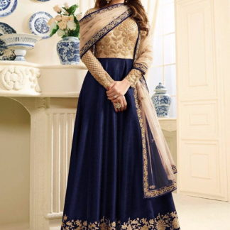 Pretty Blue Net Silk With Embroidered Work Salwar Suit