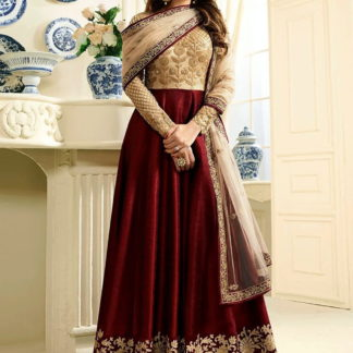 Radiant Red Silk Net With Embroidered Work Salwar Suit