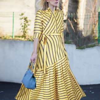 Glorious Yellow Rayon Ready Made Printed Long Kurti