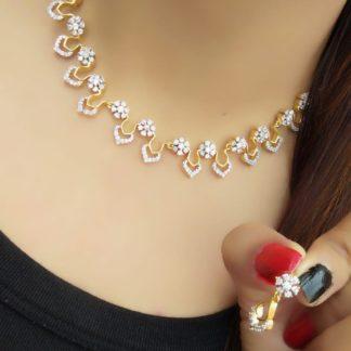 Incredible White American Diamond Golden Necklace Set