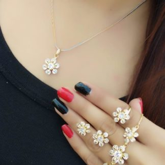 Outstanding White Diamond Golden Imitation Necklace Set