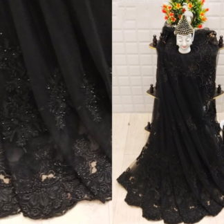 Fantastic Black Net With Embroidered Diamond Work Saree