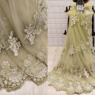 Beautiful Cream Net With Embroidered Diamond Work Saree