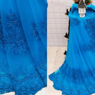 Lovely Firozi Net With Embroidered Diamond Work Saree