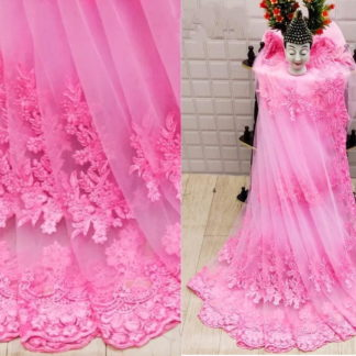 Pretty Baby Pink Net With Embroidered Diamond Work Saree
