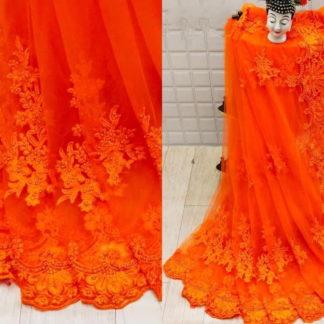 Sensational Orange Net With Embroidered Diamond Work Saree