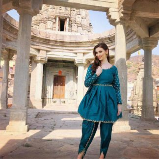 Devastating Rama Blue Silk With Embroidered Work Ready Made Dhoti & Top