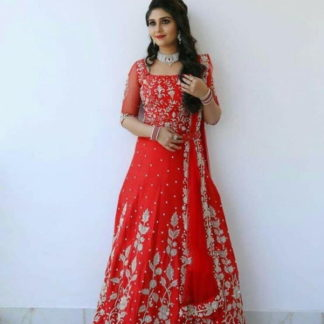 Bewitching Red Designer Georgette Embroidered Work Gown