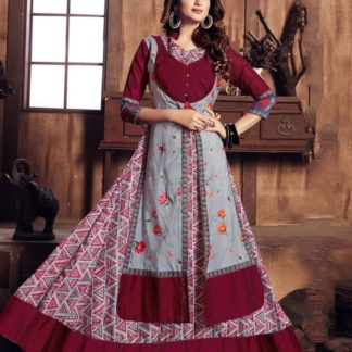 Sensational Maroon & Grey Rayon Digital Gown Designer Gown