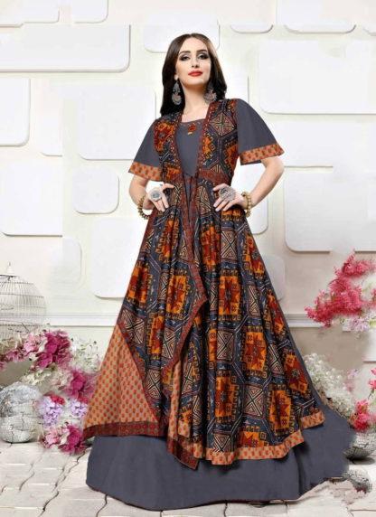 Radiant Grey & Multi Colored Rayon Designer Printed Designer Gown