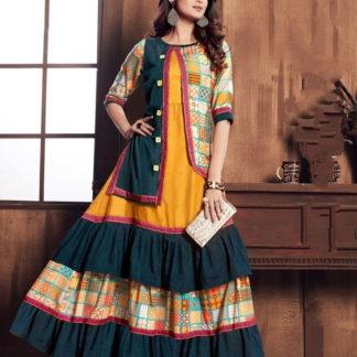 Ravishing Rama & Mustard Rayon Digital Gown Designer Gown