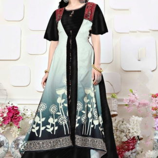 Dazzling Black Rayon Digital Printed Gown