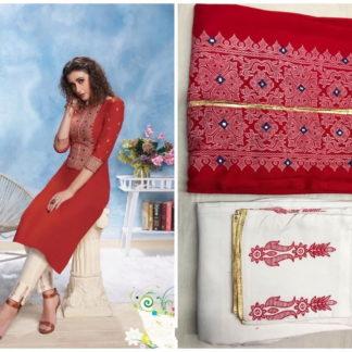 Wonderful Red Rayon Cotton Printed Full & Pent & Kurti