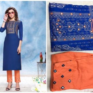 Magnificent Royal Blue Cotton Rayon Printed Kurti & Kurti