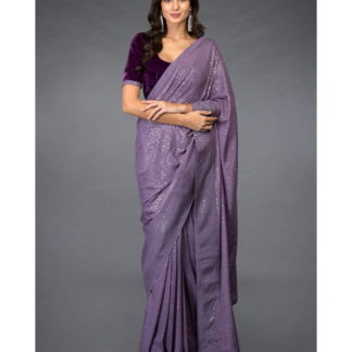 Glorious Purple Georgette With Sequence Embroidered Saree Designer Saree