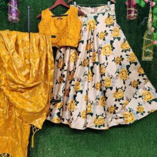 Alluring Yellow Silk With Digital Printed  Choli